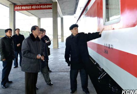 DPRK Premier Pak Pong Ju inspects finishing work on railway carriages at Pyongyang Railway Station (Photo: KCNA).
