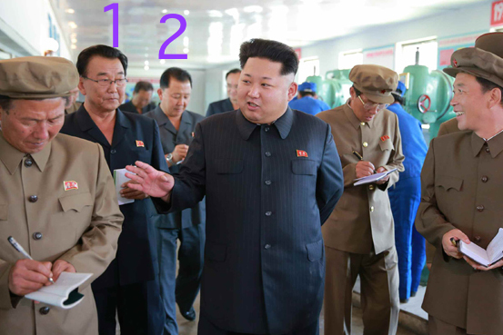 Ri Man Gon (1) accompanies Kim Jong Un on a tour of the Sinu'iju Measuring Instrument Factory during September 2015. Also in attendance at that visit was Second Economic Committee Chairman Jo Chun Ryong (2) (Photo: Rodong Sinmun/KCNA).