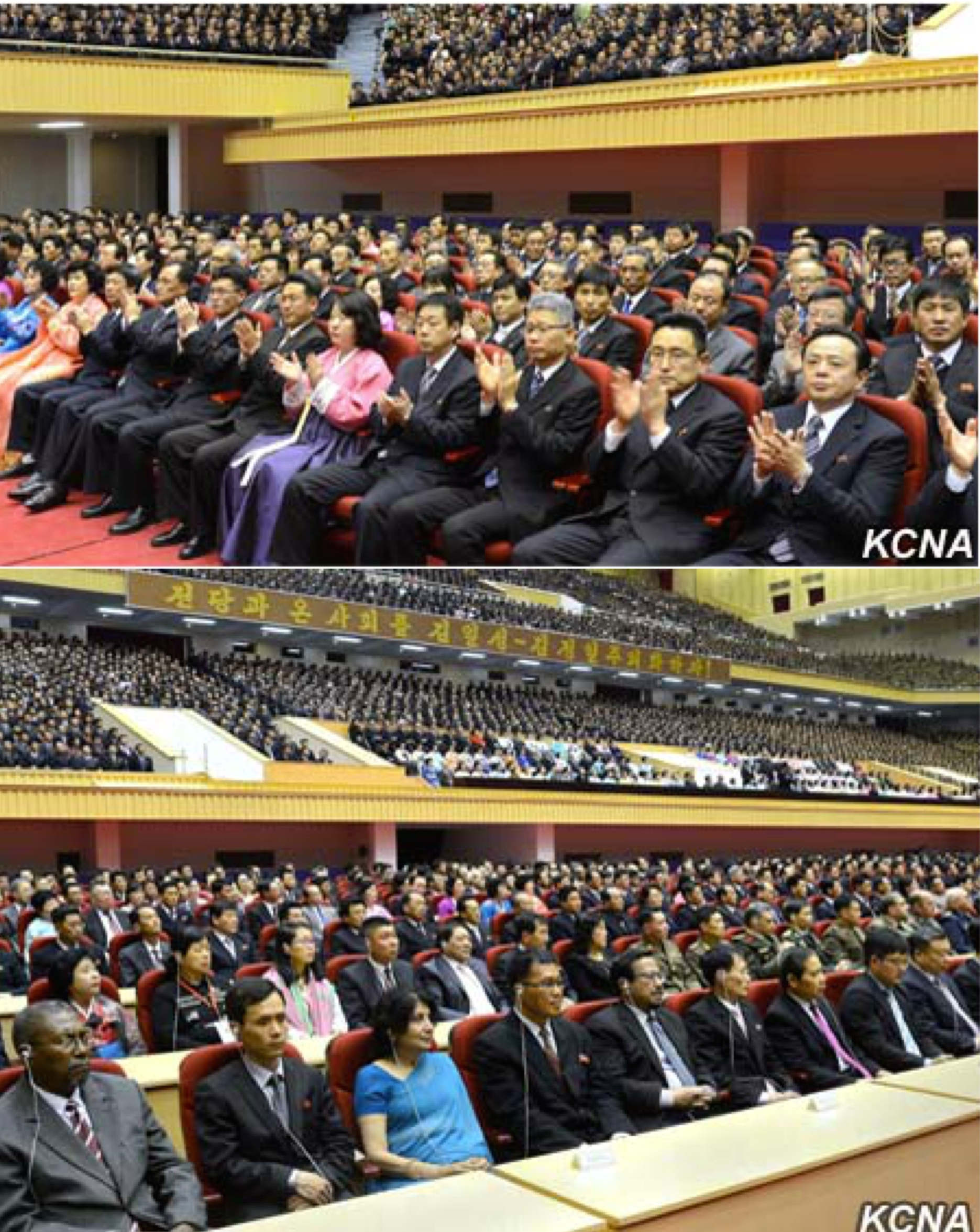 View of participants at a central report meeting at Pyongyang Indoor Stadium on April 14, 2016 (Photos: KCNA).