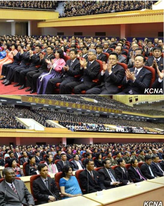 View of participants at a central report meeting at Pyongyang Indoor Stadium on April 14, 2016 (Photos: KCNA).