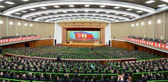 Overview of the venue for an April 10, 2016 central report meeting marking the anniversary of Kim Jong Il's election as National Defense Commission chairman (Photo: KCNA).