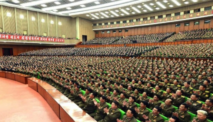 View of venue and participants of an April 8, 2016 meeting marking KJI's election as National Defense Commission chairman held at the People's Palace of Culture in central Pyongyang (Photo: Rodong Sinmun).