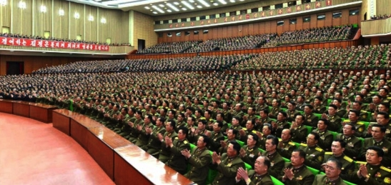 Participants at a meeting commemorating the 4th anniversary of Kim Jong Un's appointment to the positions of 1st Secretary of the WPK and 1st Chairman of the NDC, held at the People's Palace of Culture in Pyongyang on April 11, 2016 (Photo: Rodong Sinmun).