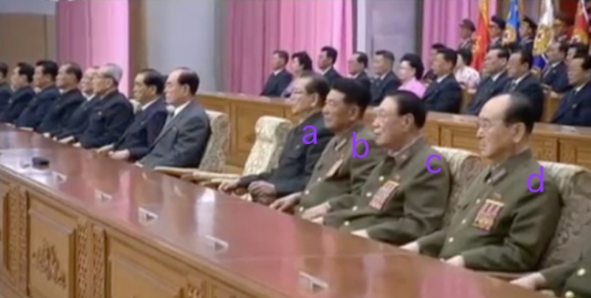 Platform participants at the central report meeting: WPK Secretary for Science Education and SPA Chairman Choe T'ae Bok [a], Minister of the People's Armed Forces General Pak Yong Sik [b], National Defense Commission Vice Chairman Vice Marshal Ri Yong Mu [c] and National Defense Commission Vice Chairman General O Kuk Ryol [d] (Photo: KCTV screen grab).