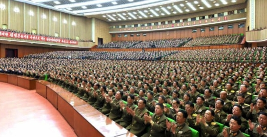 View of participants at a central report meeting marking the official observed anniversary of the Korean People's Army on April 24, 2016 at the People's Palace of Culture in central Pyongyang (Photo: Rodong Sinmun).