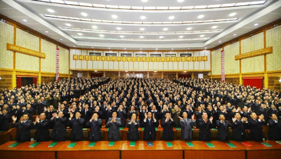View of delegates (party representatives) attending the Chagang Province Party (WPK) Conference in Kanggye (Photo: Rodong Sinmun).