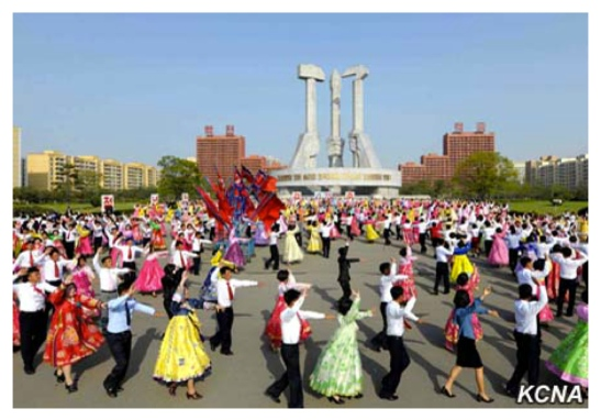 Dance parties of DPRK students took place around the country on April 24 and April 25 to mark the official anniversary of the KPA. Here DPRK students dance in front of the Party Founding Monument in east Pyongyang (Photo: Rodong Sinmun).