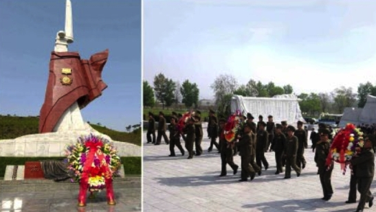A floral wreath from Kim Jong Un and the presentation of floral wreaths by DPRK officials at the Soul of Heroes memorial at the Fatherland Liberation Cemetery in Pyongyang on April 25, 2016 (Photos: Rodong Sinmun/KCNA).