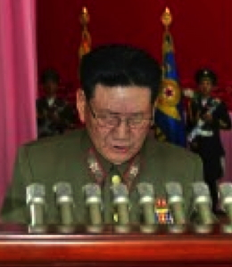 KPA General Political Department Director Vice Marshal Hwang Pyong So reads out the report (Photo: Rodong Sinmun).