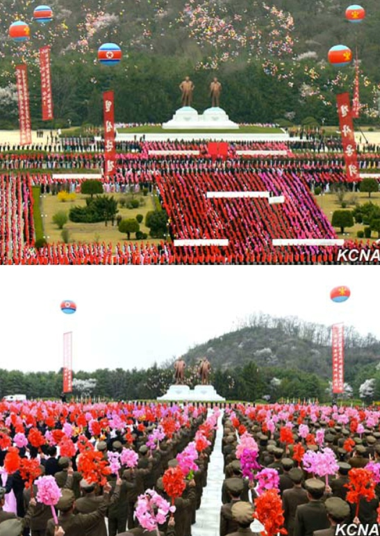 Views of a ceremony unveiling statues of Kim Il Sung and Kim Jong Il at the Kunja-ri Revolutionary Site in So'ngch'o'n, South P'yo'ngan Province on April 12, 2016 (Photos: KCNA).