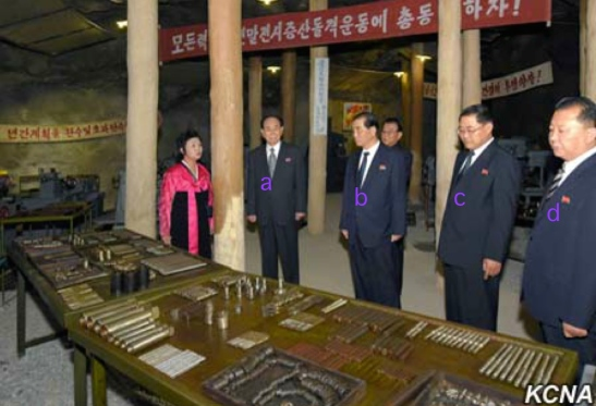 Senior DPRK officials tour Kunja-ri. Seen in attendance are SPA Presidium President Kim Yong Nam [a], DPRK Premier Pak Pong Ju [b] and Chief Secretary of the South P'yo'ngan WPK Committee Pak T'ae Song [c] (Photo: KCNA).