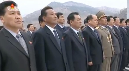 Officials in the DPRK's defense industries attending the Kunja-ri Revolutionary Site statue unveiling ceremony (Photo: KCTV).