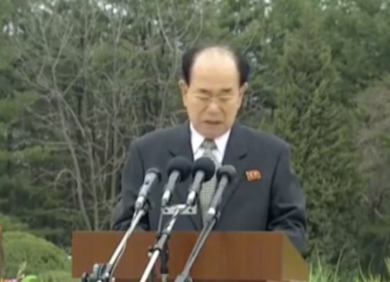 SPA Presidium President Kim Yong Nam speaks at a statue unveiling ceremony at Kunja-ri Revolutionary Site in So'ngch'o'n, South P'yo'ngan Province on April 12, 2016 (Photo: KCTV).