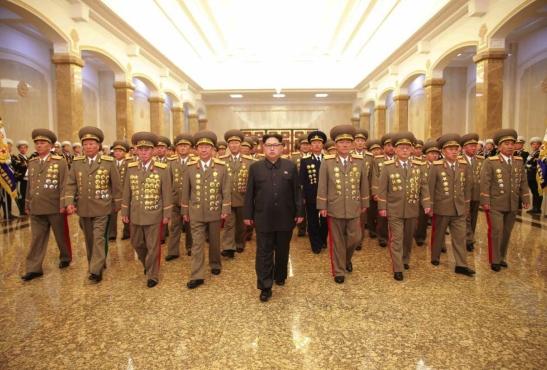 Kim Jong Un and members of the KPA high command visit the Ku'msusan Palace of the Sun in Pyongyang on April 15, 2016 (Photo: Rodong Sinmun).