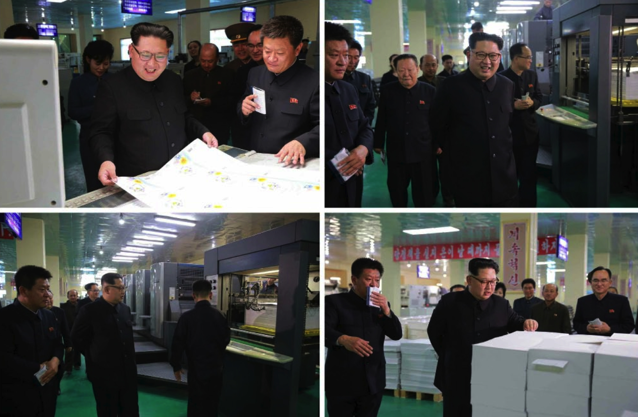 Kim Jong Un is briefed about production at the Mindulle Notebook Factory (Photos: Rodong Sinmun-KCNA).