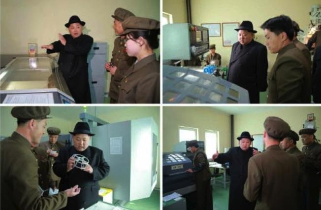 Kim Jong Un tours the machine plant managed by Ri Ch'o'l-ho (Photos: Rodong Sinmun/KCNA).