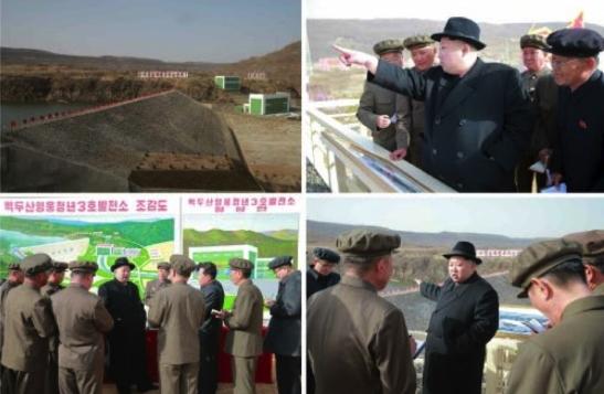 Kim Jong Un tours the Paektusan Hero Youth Power Station #3 (Photos: KCNA/Rodong Sinmun).