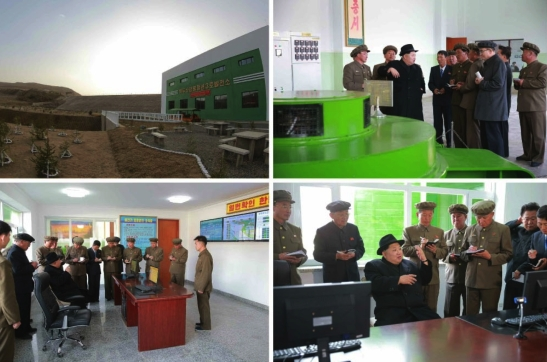 Kim Jong Un visits Paektusan Hero Youth Poer Station #3 (Photos: Rodong Sinmun).