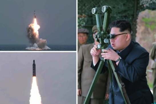 Kim Jong Un observes the test firing of a submarine-launched ballistic missile (Photos: Rodong Sinmun/KCNA).