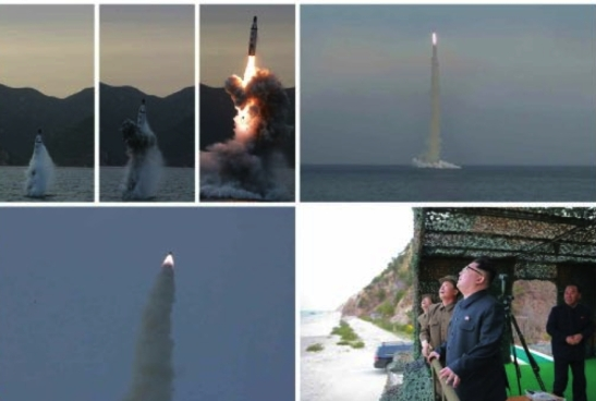 Test firing of a submarine-launched ballistic missile (Photos: Rodong Sinmun/KCNA).