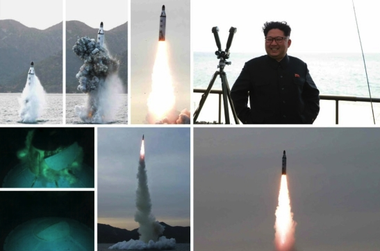 Kim Jong Un grins during the test firing of a submarine-launched ballistic missile (Photos: KCNA/Rodong Sinmun).