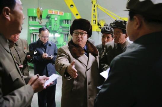 Kim Jong Un issues instructions about renovating Sinhu'ng Machine Plant in Hamhu'ng, South Hamgyo'ng Province (Photo: Rodong Sinmun).