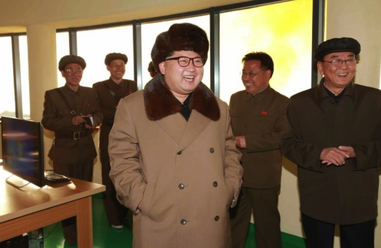 Kim Jong Un at the Sohae Space Center in Ch'o'lsan County, North P'yo'ngan Province for a missile engine test (Photo: Rodong Sinmun).