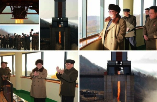 Kim Jong Un and senior defense industry officials observe a test of an ICBM engine at Sohae Space Center (Photos: Rodong Sinmun/KCNA).