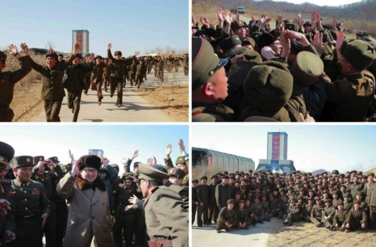 Kim Jong Un greets DPRK defense industry personnel following the missile engine test (Photos: Rodong Sinmun/KCNA).
