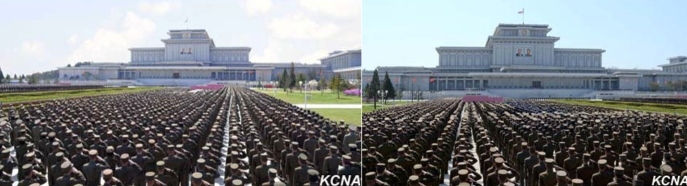 Meeting of KPA service members and officers at Ku'msusan in Pyongyang on April 10, 2016 to commemorate the birth anniversary of Kim Il Sung (Photo: KCNA).