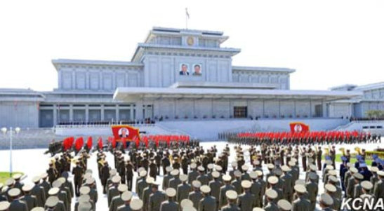Meeting of KPA service members and officers on April 10, 2016 to commemorate the birth anniversary of Kim Il Sung (Photo: KCNA).