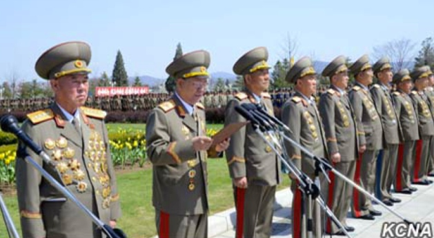 KPA General Political Department Director Vice Marshal Hwang Pyong So (2nd left) delivers a speech at a meeting of KPA service members and officers to mark Kim Il Sung's birth anniversary. Also in attendance is Chief of the KPA General Staff Ri Myong Su (left) (Photo: KCNA).
