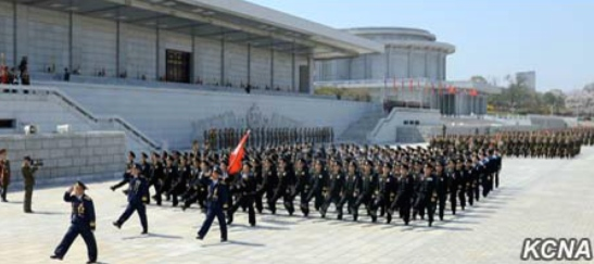 KPA service members march through Ku'msusan Plaza on April 10, 2016 at the end of the meeting (Photo: KCNA).