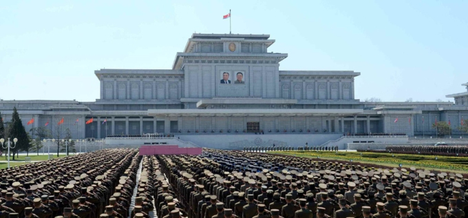 A meeting of KPA service members and officers at Ku'msusan Palace of the Sun in Pyongyang on April 10, 2016 to mark the birth anniversary of late DPRK founder and president Kim Il Sung (Photo: Rodong Sinmun).