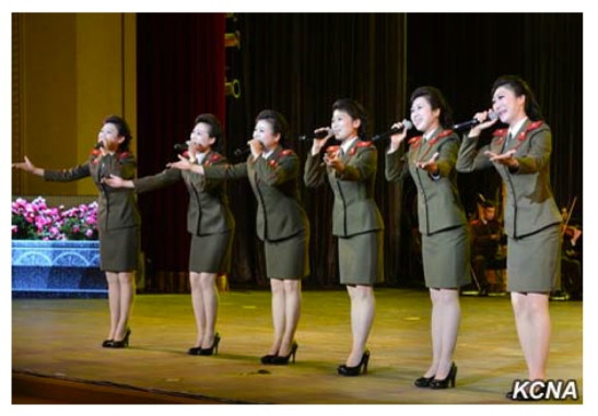 Singers of the KPA Song and Dance Ensemble perform at a concert at the Ponghwa Art Theater in Pyongyang on April 25, 2016 as part of celebrations of the KPA's official anniversary (Photo: KCNA).