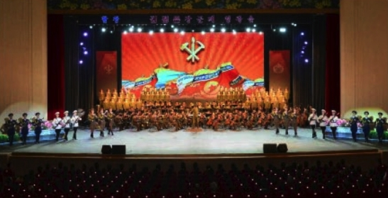 A performance of the KPA Song and Dance Ensemble was held at Ponghwa Art Theater on April 25, 2016 to mark the KPA's official anniversary (Photo: Rodong Sinmun).