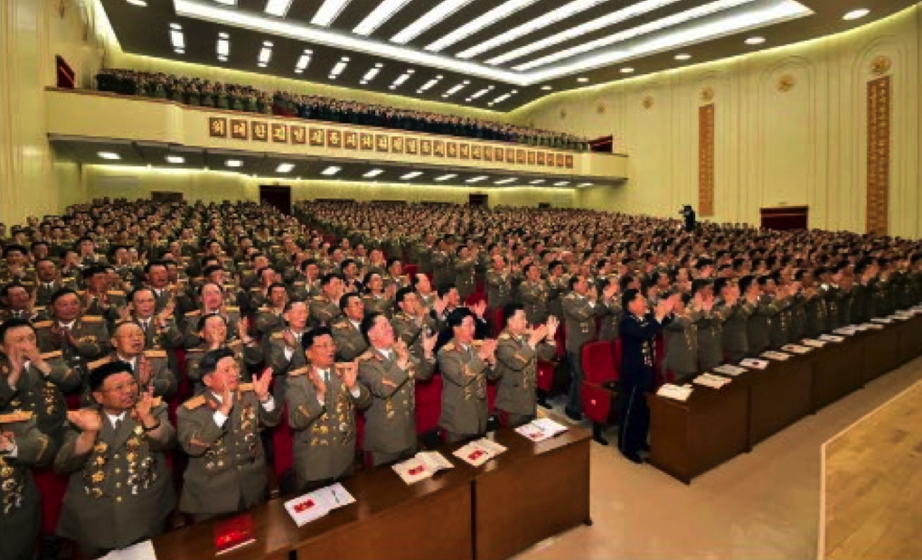 Delegates to the KPA's Party Conference applaud following Kim Jong Un's nomination as one of the KPA's delegates to the 7th Party Congress (Photo: Rodong Sinmun).