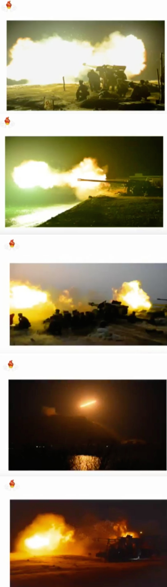 Still images of an April 9 live-fire artillery exercise aired on Korean Central Television on April 12, 2016 (Photos: KCTV).