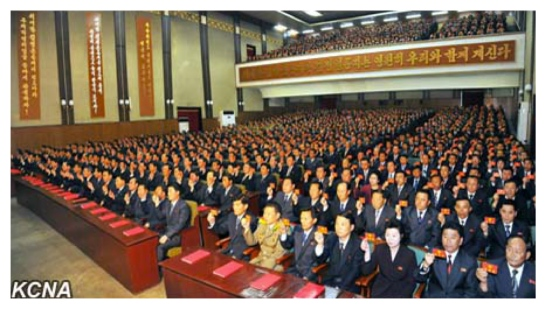 Party representatives hold up their party membership credentials during the North Hamgyo'ng provincial party conference (Photo: KCNA).