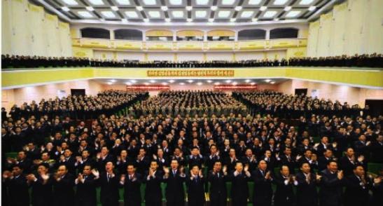 Party representatives applaud during the North P'yo'ngan party conference (Photo: Rodong Sinmun).