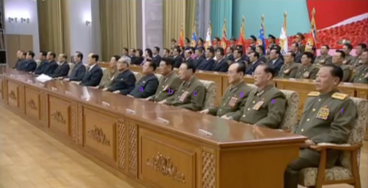 Platform participants at the April 8, 2016 meeting marking KJI's election as National Defense Commission Chairman: WPK Secretary for Workers' and Social Organizations Choe Ryong Hae [a], Minister of the People's Armed Forces General Pak Yong Sik [b], National Defense Commission Vice Chairman Vice Marshal Ri Yong Mu [c], National Defense Commission Vice Chairman General O Kuk Ryol [d], Minister of State Security General Kim Won Hong [e] and Minister of People's Security General Choe Pu Il [f] (Photo: KCNA/KCTV screen grab).