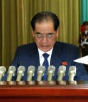 DPRK Premier Pak Pong Ju reads out the report (Photo: Rodong Sinmun).
