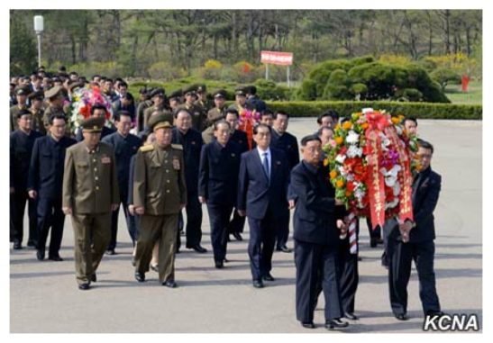 DPRK Premier Pak Pong Ju and officials of the country's central leadership deliver floral wreaths to the Patriotic Martyrs Cemetery in Pyongyang on April 25, 2016 (Photo: KCNA).
