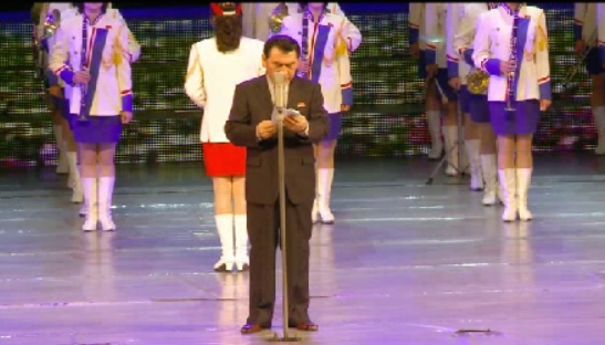 DPRK Minister of Culture Pak Chun Nam speaks at the opening ceremony (Photo: KCNA screen grab).