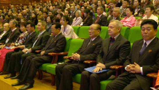 SPA Presidium Vice President Yang Hyong Sop (3rd right) attends the arts festival's opening ceremony (Photo: KCNA screen grab).