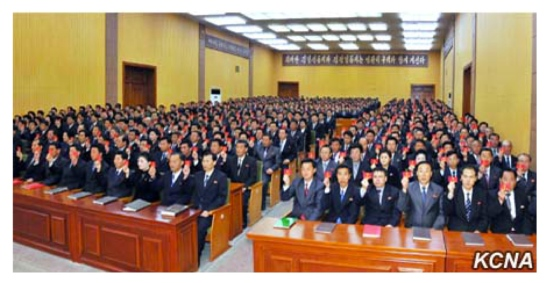 Party representatives hold up their party membership credentials during the Raso'n party conference (Photo: KCNA).