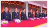 View of senior North Korean leadership at a May 10, 2016 rally and parade celebrating the 7th Party Congress: WPK Vice Chairman O Su Yong (a), WPK Vice Chairman Kim Yong Chol (b), WPK Vice Chairman Ri Man Gon [c], SPA Presidium Vice President Yang Hyong Sop (d), DPRK Vice Premier and State Planning Commission Chairman Ro Tu Chol (e), and North P'yo'ngan WPK Provincial Committee Chairman Kim Nung O (Photo: Korean Central TV).