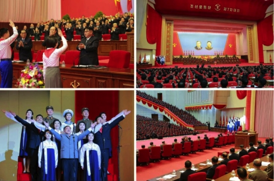 The Kim Il Sung Youth League makes a presentation at the 7th Party Congress (Photos: Rodong Sinmun-KCNA).