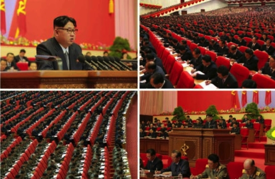 Kim Jong Un addresses the Seventh Congress of the Workers' Party of Korea during its third day, May 8, 2016 (Photos: Rodong Sinmun-KCNA).