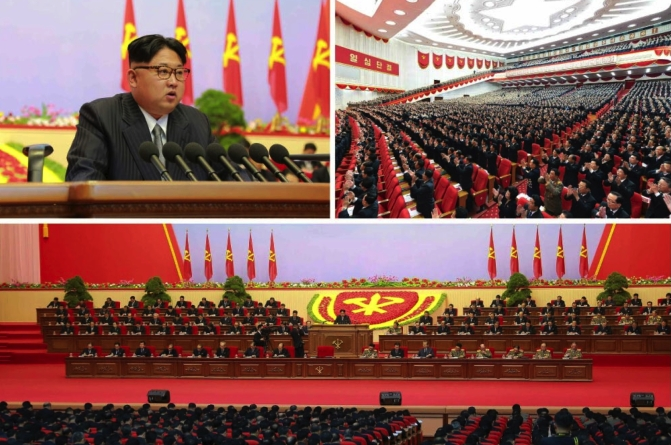 Kim Jong Un speaks during the third day of the 7th Party Congress at April 25 House of Culture on May 8, 2016 (Photos: Rodong Sinmun-KCNA).